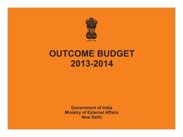 MEA Outcome Budget 2013-14 - Ministry of External Affairs