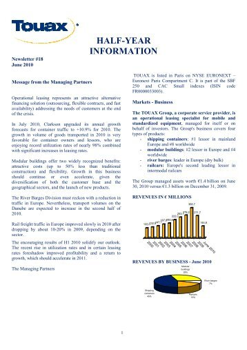 Half year information at 30th June 2010 - touax group