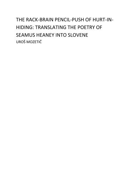 Translating The Poetry Of Seamus Heaney Into Slovene