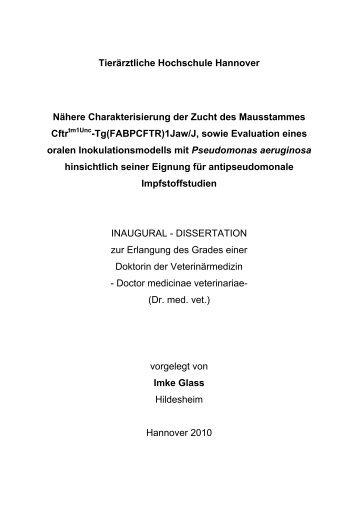 1 EINLEITUNG - Tiho Bibliothek elib - Tierärztliche Hochschule ...