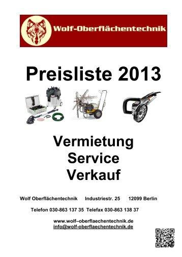 Mietpreisliste 2013 (.pdf) - Wolf-Oberflächentechnik