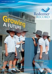 Inside this Issue - Redeemer Lutheran College