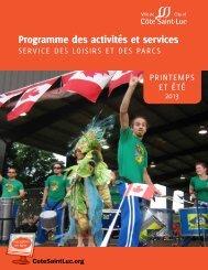 Programme des activités et services - City of Côte Saint-Luc