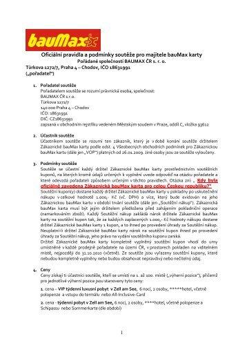 Oficiální pravidla a podmínky soutěže pro majitele bauMax karty