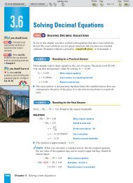 Solving Decimal Equations - Beau Chene High School Home Page
