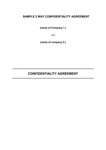 Sample Confidentiality Agreement  The Renal Network