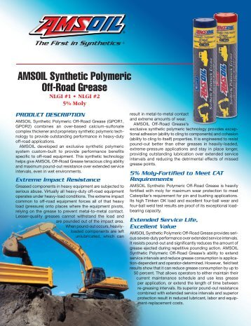 AMSOIL Synthetic Polymeric Off-Road Grease - Synthetic Motor Oil