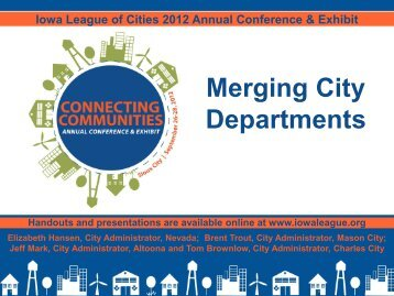 Merging City Departments - Iowa League of Cities