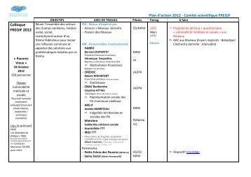 Plan d'action 2012 - Comité scientifique FREGIF Colloque FREGIF ...