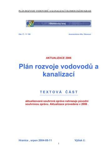 Plán rozvoje vodovodů a kanalizací - Olomoucký kraj