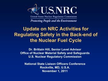 NRC Activities Associated with Regulating Safety ... - Blsmeetings.net
