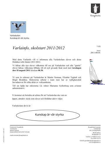 Varlainfo inför läsåret 2011 2012 - Kungsbacka kommun