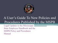 New Policies and Procedures - Mississippi State Personnel Board
