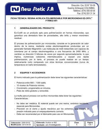 RESINA ACRILICA POLIMERIZABLE POR ... - New Stetic