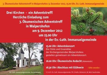 Drei Kirchen - ein Adventstreff! Herzliche Einladung ... - Saarbrücken