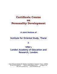 Certificate Course on Personality Development - VPMThane.org