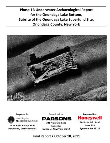 Phase 1B Underwater Archaeological Report for the Onondaga ...