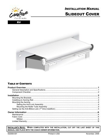Installation Manual Slideout Cover
