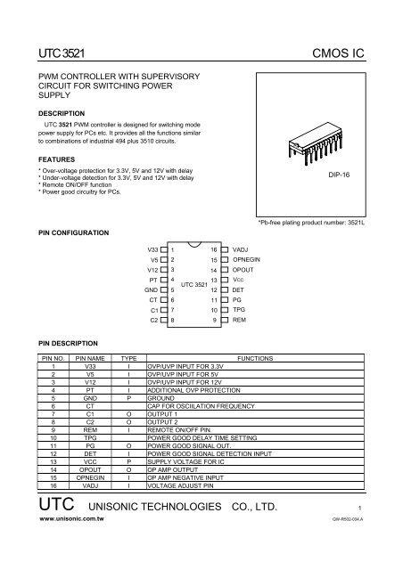 UTC 3521 CMOS IC