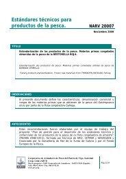 Estándares técnicos para productos de la pesca. NARV 20007 - Arvi
