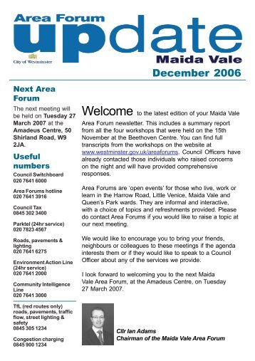 Maida Vale Area Forum Newsletter - Winter 2006.pdf - Westminster ...