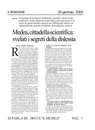 Medea, cittadella scientifica: svelati i segreti della dislessia - E. Medea