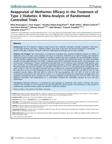 Reappraisal of Metformin Efficacy in the Treatment ... - HAL - INSERM