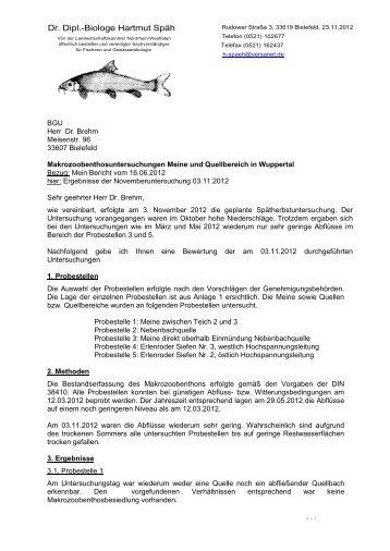 Makrozoobenthosuntersuchung - Stand: November 2012