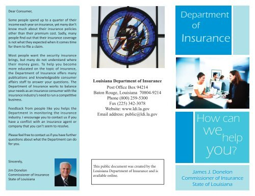 Insurance How can help - Louisiana Department of Insurance