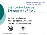 Soft Double Pomeron Exchange in CDF Run I - The Rockefeller ...