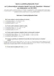 Zpráva o průběhu přijímacího řízení na CMTF UP pro akademický ...