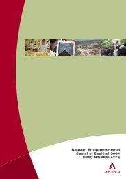 Rapport Environnemental Social et Sociétal 2004 FBFC ... - AREVA