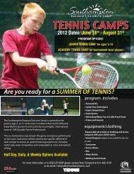 TENNIS CAMPS - Cliff Drysdale Tennis