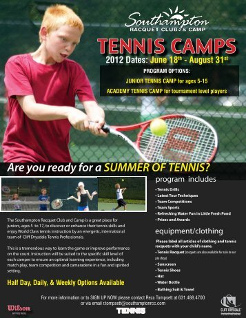 TENNIS CAMPS - Cliff Drysdale Tennis