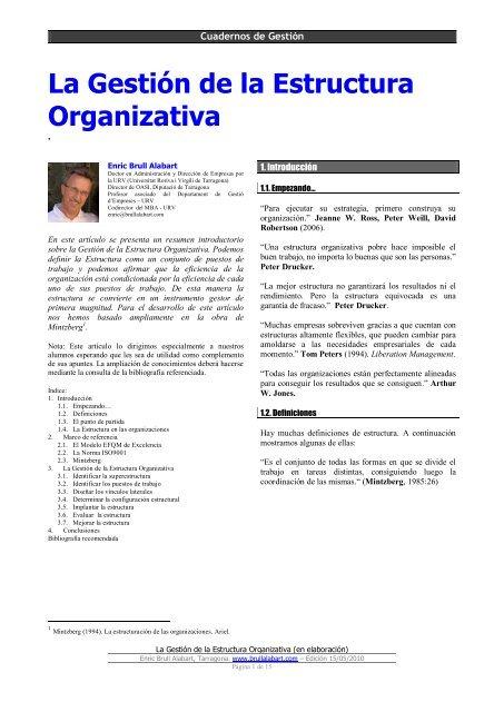 La Gestión De La Estructura Organizativa