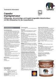 Capadur ImprägnierLasur Offenporige ... - Caparol Farben AG