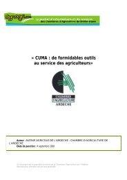 CUMA - Chambres d'Agriculture de Rhône-Alpes