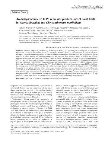 Plant Biotechnol. 28(2): 131-140 (2011) - Wdc-jp.biz