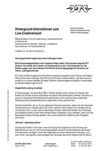 Hintergrund-Informationen zum Live-Crashversuch - DTC