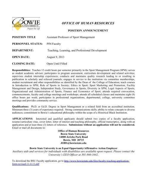 Assistant Professor of Sport Management - Bowie State University