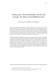 Privacy Law in the United States, the EU and Canada: The ... - uoltj