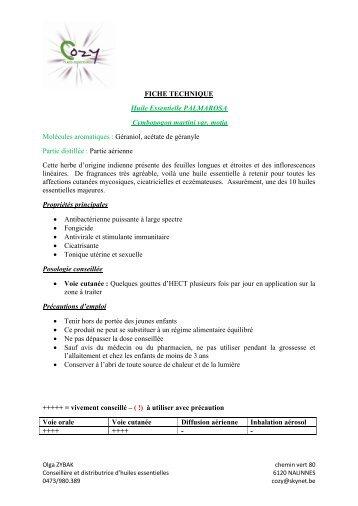 FICHE TECHNIQUE Huile Essentielle ... - COZY Belgique