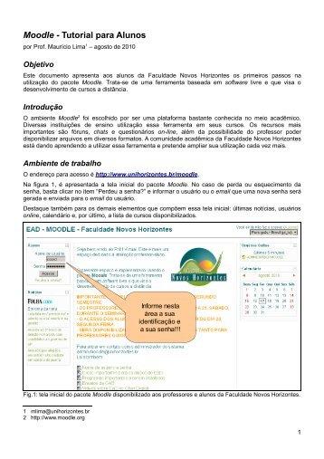 Moodle - Tutorial para Alunos - Faculdade Novos Horizontes