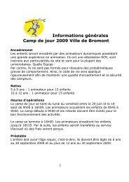 Informations générales Camp de jour 2009 Ville de Bromont