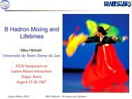 B Hadron Mixing and Lifetimes - The Center for High Energy Physics