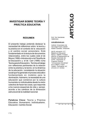 Investigar sobre teoría y práctica educativa - Portal de Revistas ...
