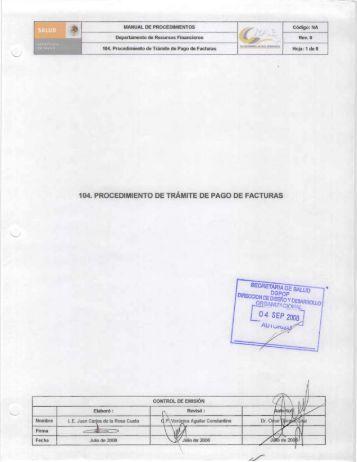 104. Procedimiento de Trámite de Pago de Facturas - Centro ...