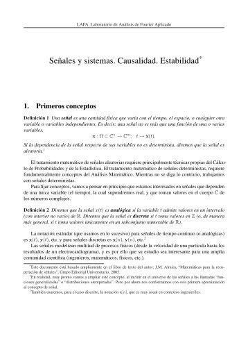 Introducción a la Teoría de Señales y Sistemas: Apuntes