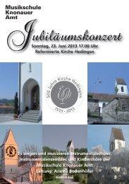 500 Jahre Kirche Hedingen - Musikschule Knonaueramt