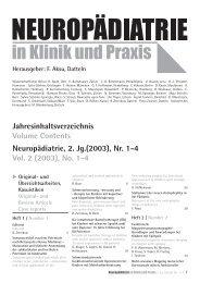 #4487 Jahresinhaltsverz. 2003 - Neuropädiatrie in Klinik und Praxis